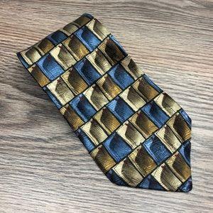 J. Garcia FLOATING PLANES Olive & Blue Silk Tie